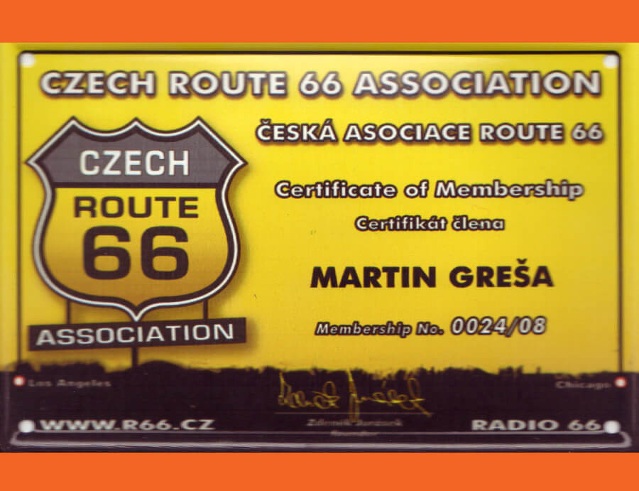 Route 66 certifikát - Travel America - Motorkou do USA