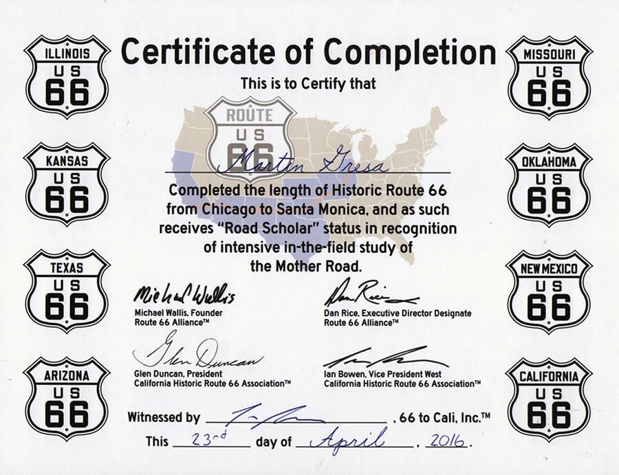 Route 66 certifikát - Travel America - Motorkou do USA